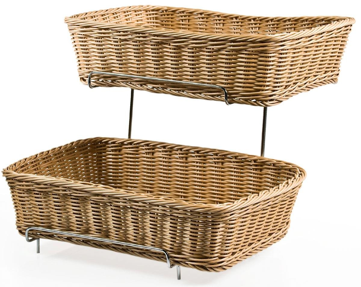 Displays2go Set of Two 2-tier Racks for Counters with 2 Plastic Wicker Baskets Each