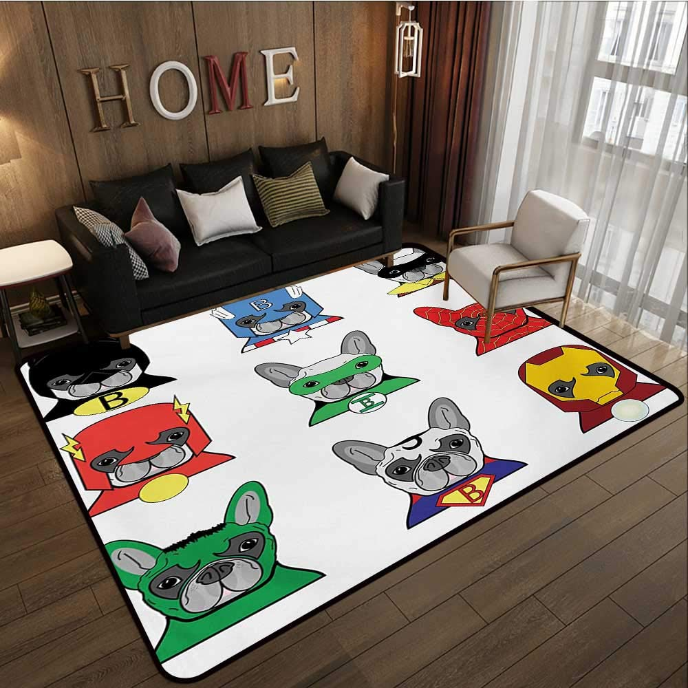 Custom Pattern Floor mat,Bulldog Superheroes Fun Cartoon Puppies in Disguise Costume Dogs with Masks Print 6'x7',Can be Used for Floor Decoration by BarronTextile (Image #2)