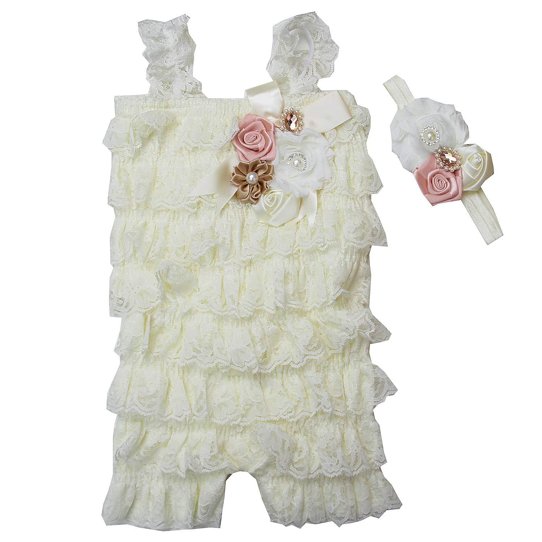 0eef58ac7ce53 Baby Elegant Rosettes Pearl Lace Petti Romper Headband Set
