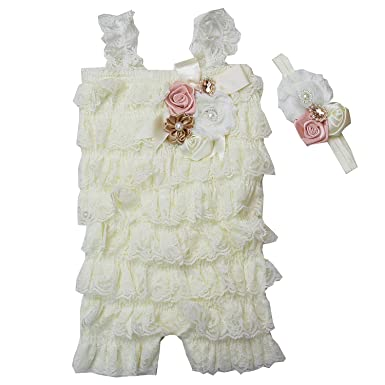 16682cce780c Amazon.com  Baby Elegant Rosettes Pearl Lace Petti Romper Headband Set   Clothing