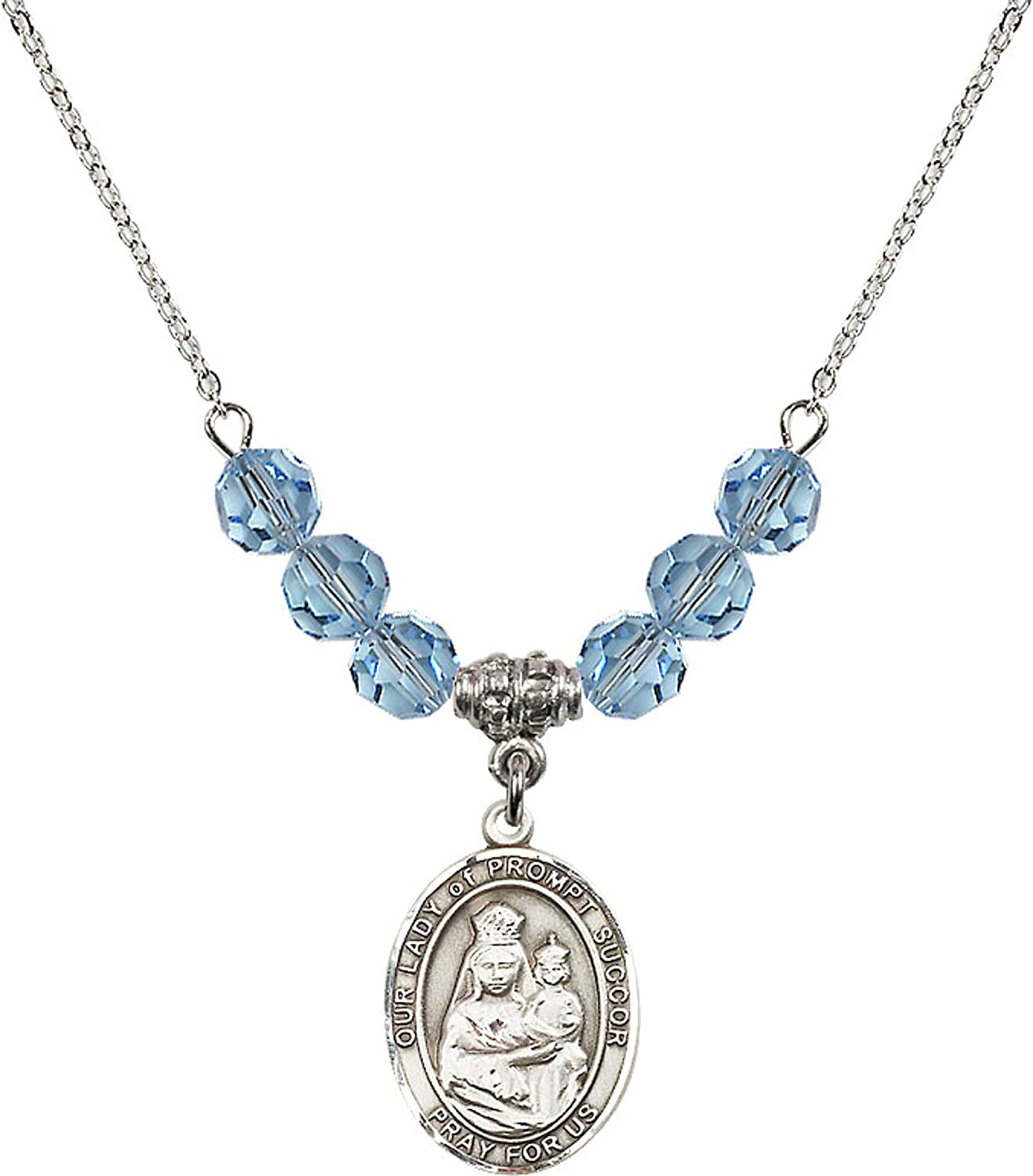 Bonyak Jewelry 18 Inch Rhodium Plated Necklace w// 6mm Blue March Birth Month Stone Beads and Our Lady of Prompt Succor Charm