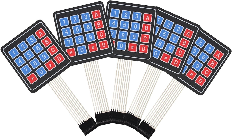 HALJIA 5pcs interruptor de membrana teclado teclado 100 millones de veces de matriz 16 teclas Compatible con arduino 77 * 70 mm
