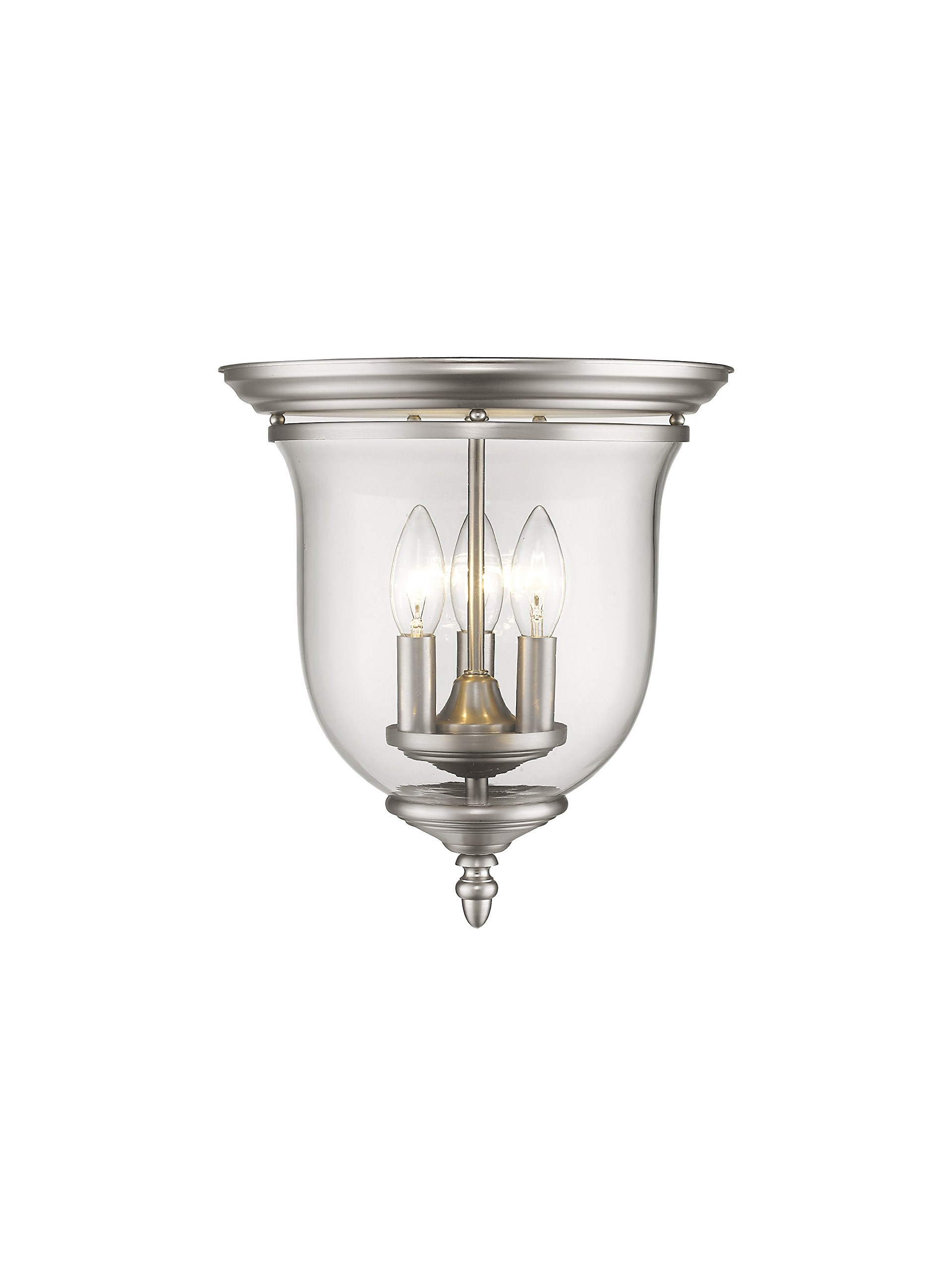 Livex Lighting 5021-91 Legacy 3 Light Brushed Nickel Flush Mount with Clear Glass by Livex Lighting