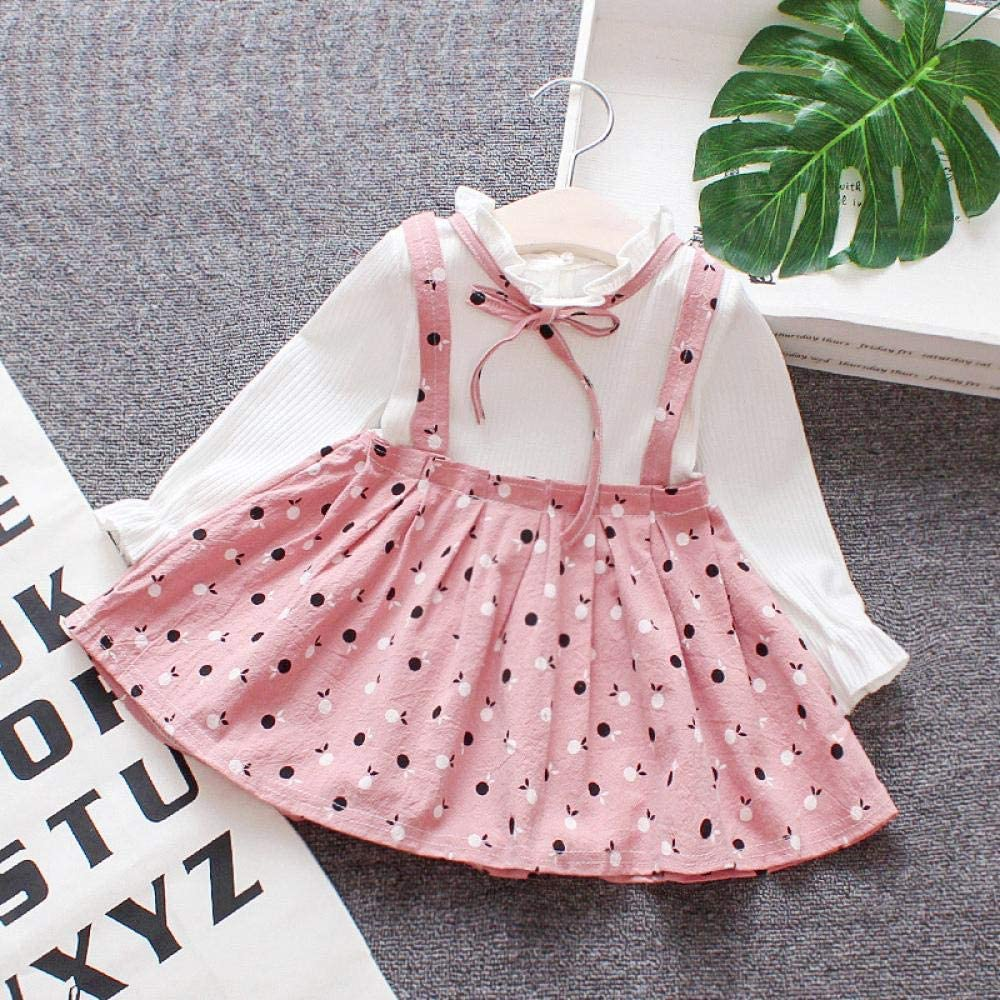 Newborn Baby Girls Spring Autumn Dress Long Sleeve Ruffle Suspender Dot Skirt