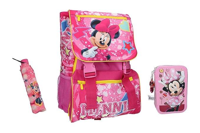 Minnie Mochila niño bolsa escolar extensible rosa + estuche + paraguas VZ690