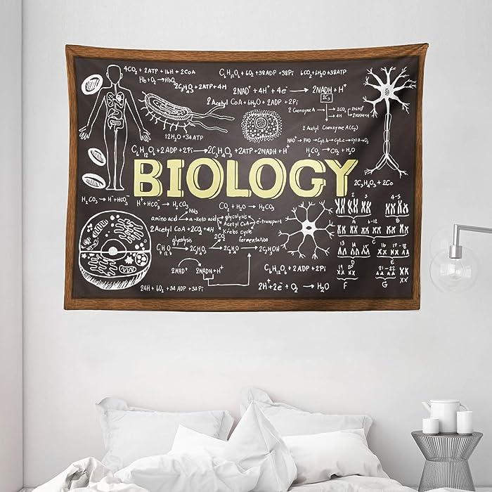 "Ambesonne Educational Tapestry, Black Chalkboard Biology Hand Written School Classroom, Wide Wall Hanging for Bedroom Living Room Dorm, 80"" X 60"", Black Brown"