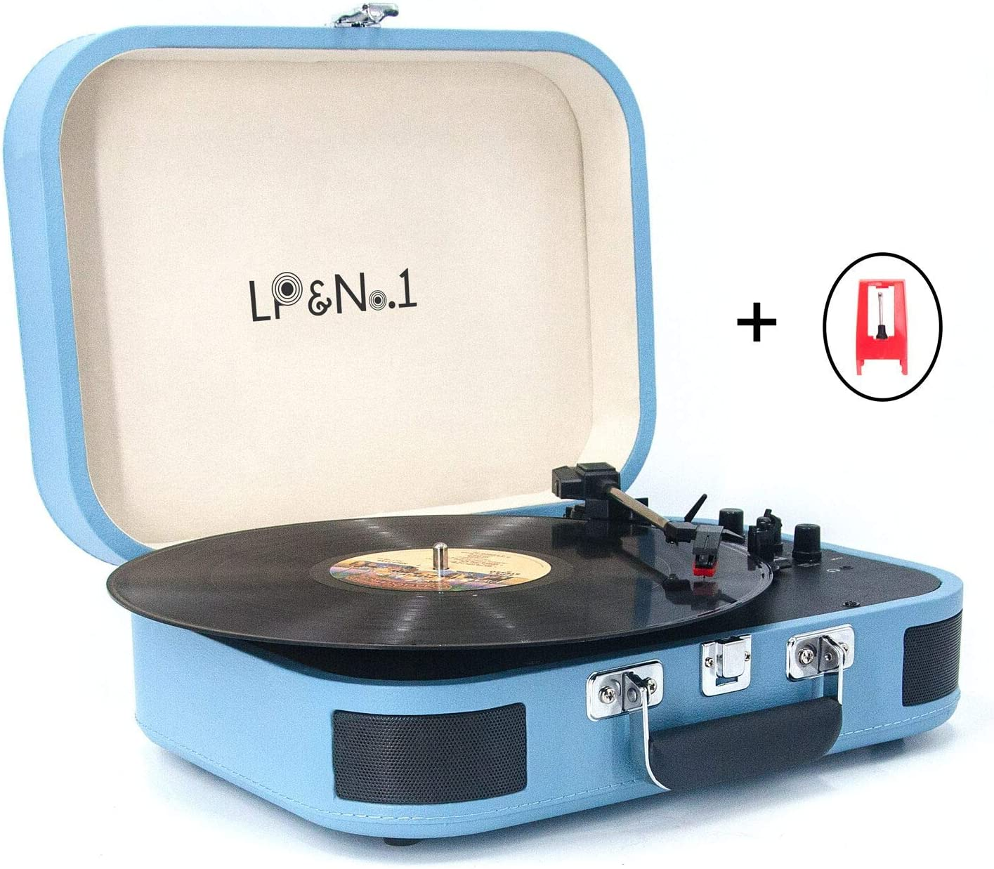 LP&No.1 Portable Bluetooth Turntable with USB Play and Recording,Suitcase 3 Speed Vinyl Record Player with Pitch Control,RCA Output and Aux Input,Blue