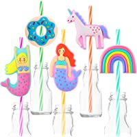 FZR Legend 15 Reusable Plastic Drinking Straws for Unicorn Mermaid Donut Party Favors,Birthday Supplies Decorations,Baby…
