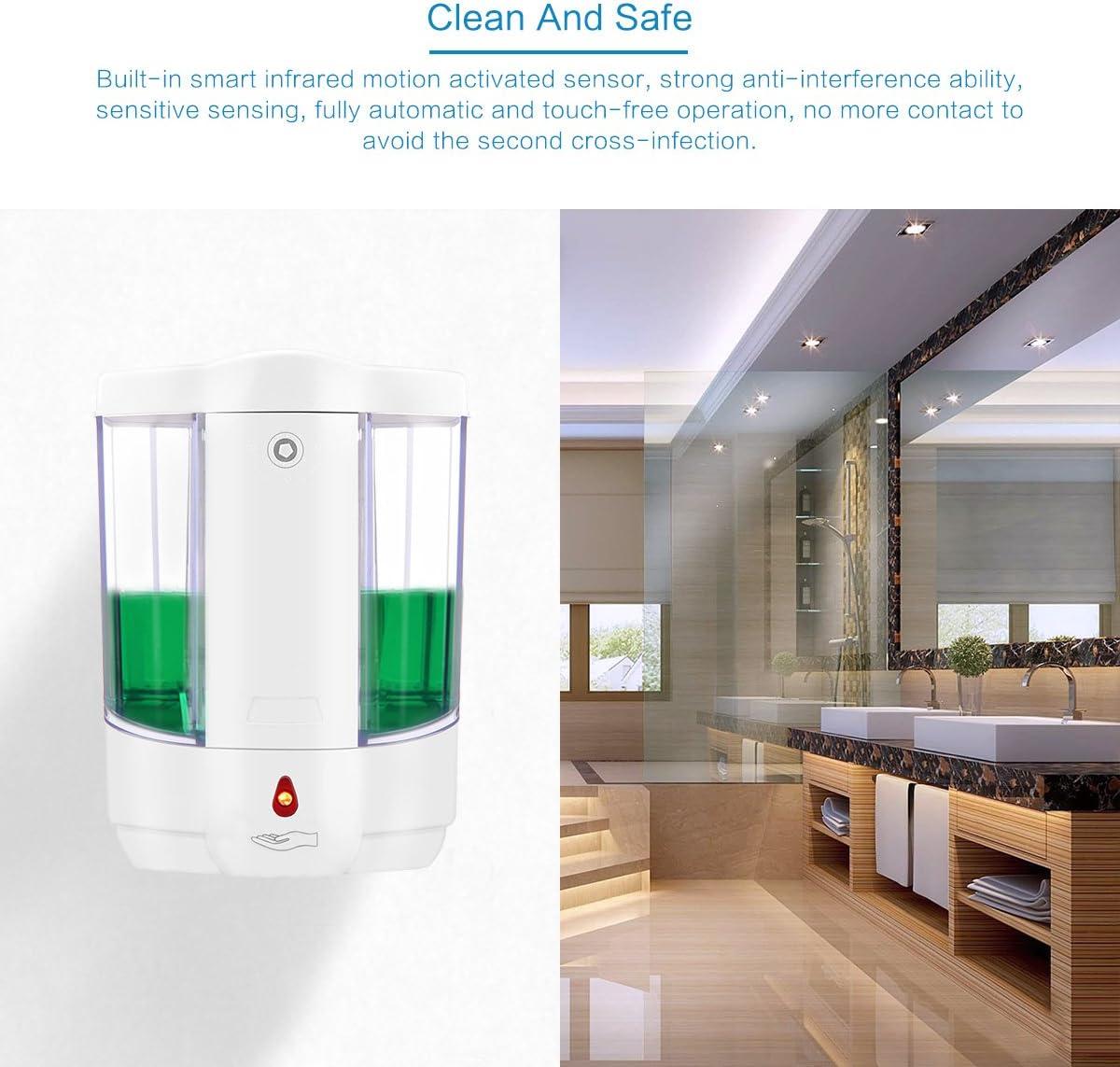 Dispenser di Sapone Automatico TiooDre 800ML Dispenser di Sapone per disinfezione a Parete Incorporato per Cucina e Bagno