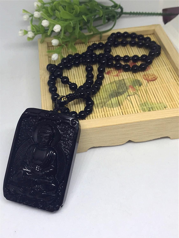 yigedan Hand Carved Natural Genuine Obsidian Amitabha Sakyamuni Bodhisattva Buddha Necklace Amulet Necklace