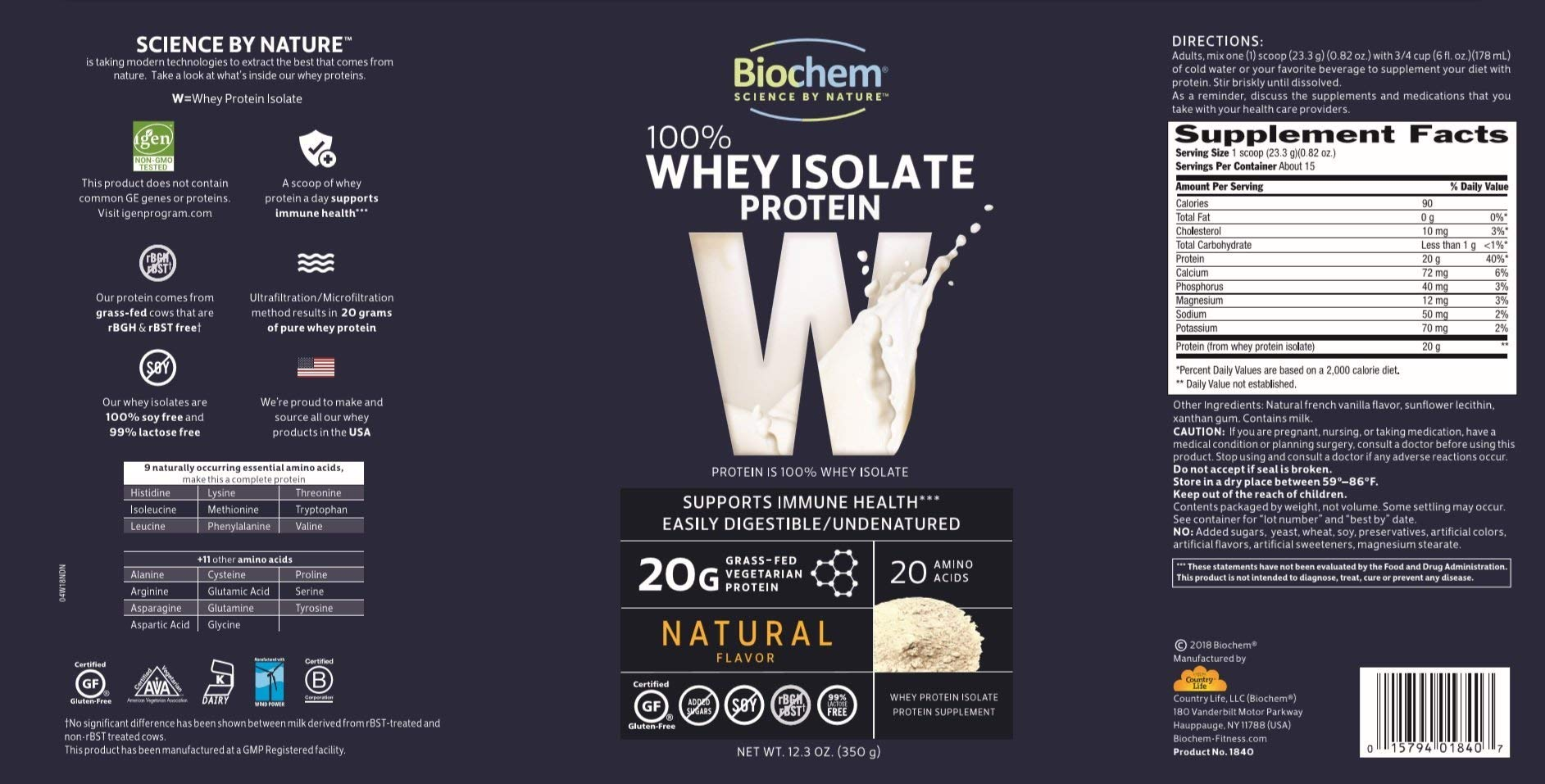 Biochem Ultimate Lo Carb Whey, Natural, 12.3-Ounce Can by Biochem (Image #3)