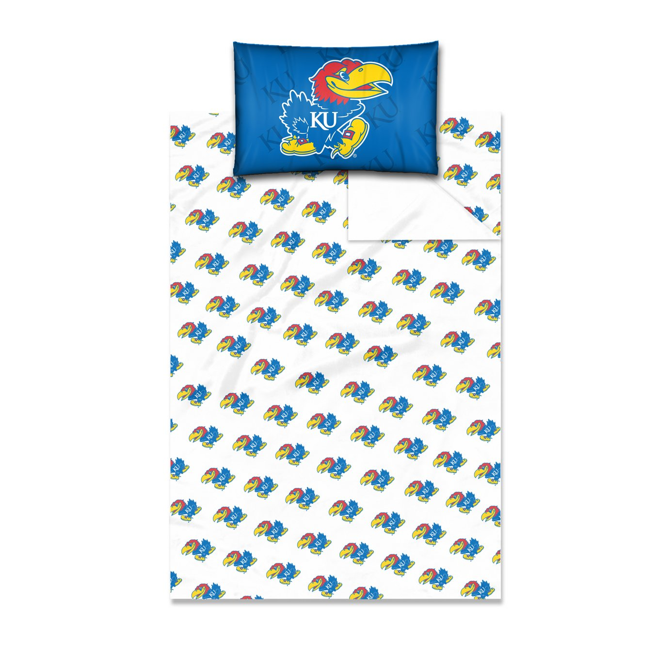 Kansas OFFICIAL Collegiate, Bedding Twin Sheet Set (1 Flat 66 x 96, 1 Fitted 39 x 75 + 12 pocket, and 1 Pillowcase 20 x 30)