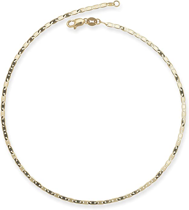 """Real 10k Yellow Gold 10/"""" Inch Diamond Cut Design Link Ladies Anklet 3mm,strong N"""