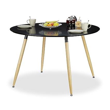 X Relaxdays Personnes 120 Table Ronde Manger Cm À 8 BoisNoir 6 En Scandinave Hxd75 Style Arvid nP8k0Ow