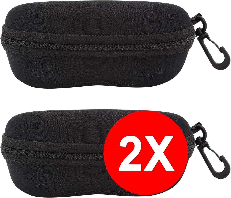 TBOC Funda Rígida Gafas de Sol - [Pack 2 Unidades] Estuche Negro Ligero con Cremallera para Cinturón Bolso Mochila Coche para Guardar Gafas de Ver Lectura Natación Grandes Pequeñas Hombre Mujer Niño: