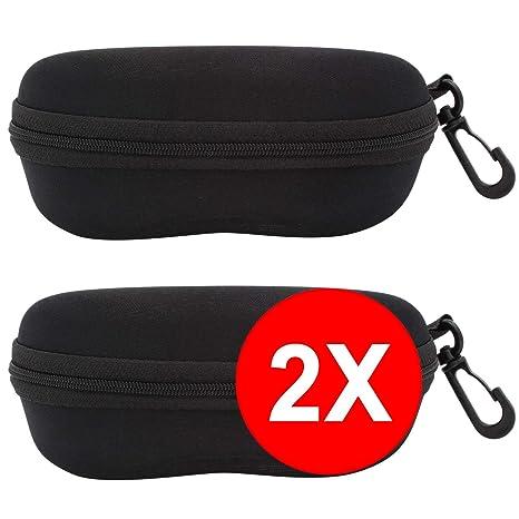 TBOC Funda Rígida Gafas de Sol - [Pack 2 Unidades] Estuche Negro Ligero con Cremallera para Cinturón Bolso Mochila Coche para Guardar Gafas de Ver ...