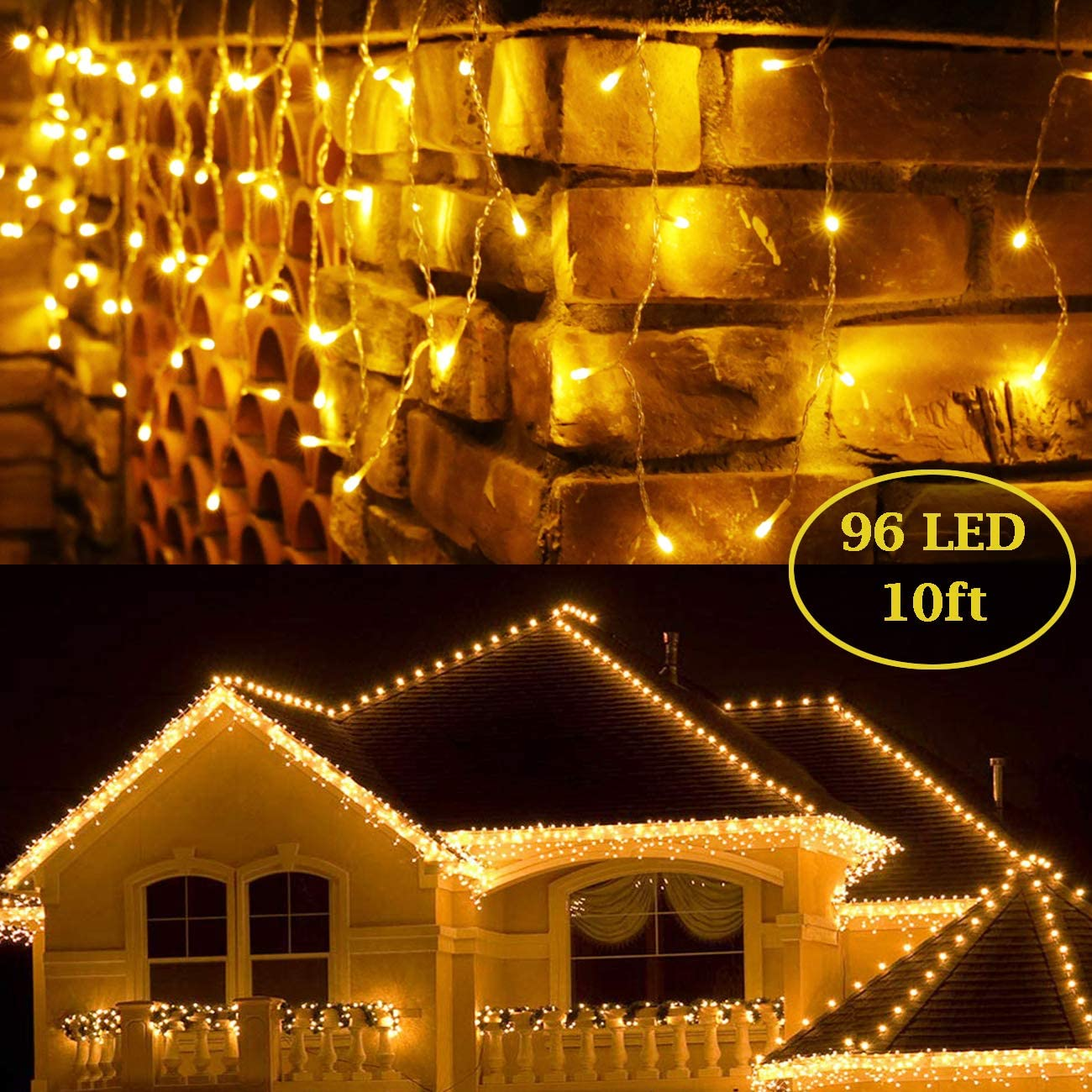 BaiYunPOY 10 Ft 96 Led Icicle Lights, Christmas Lights Plug in Outdoor Fairy String Lights with 16.6 FT Power Lead for Bedroom Indoor and Holiday Icicle Lights