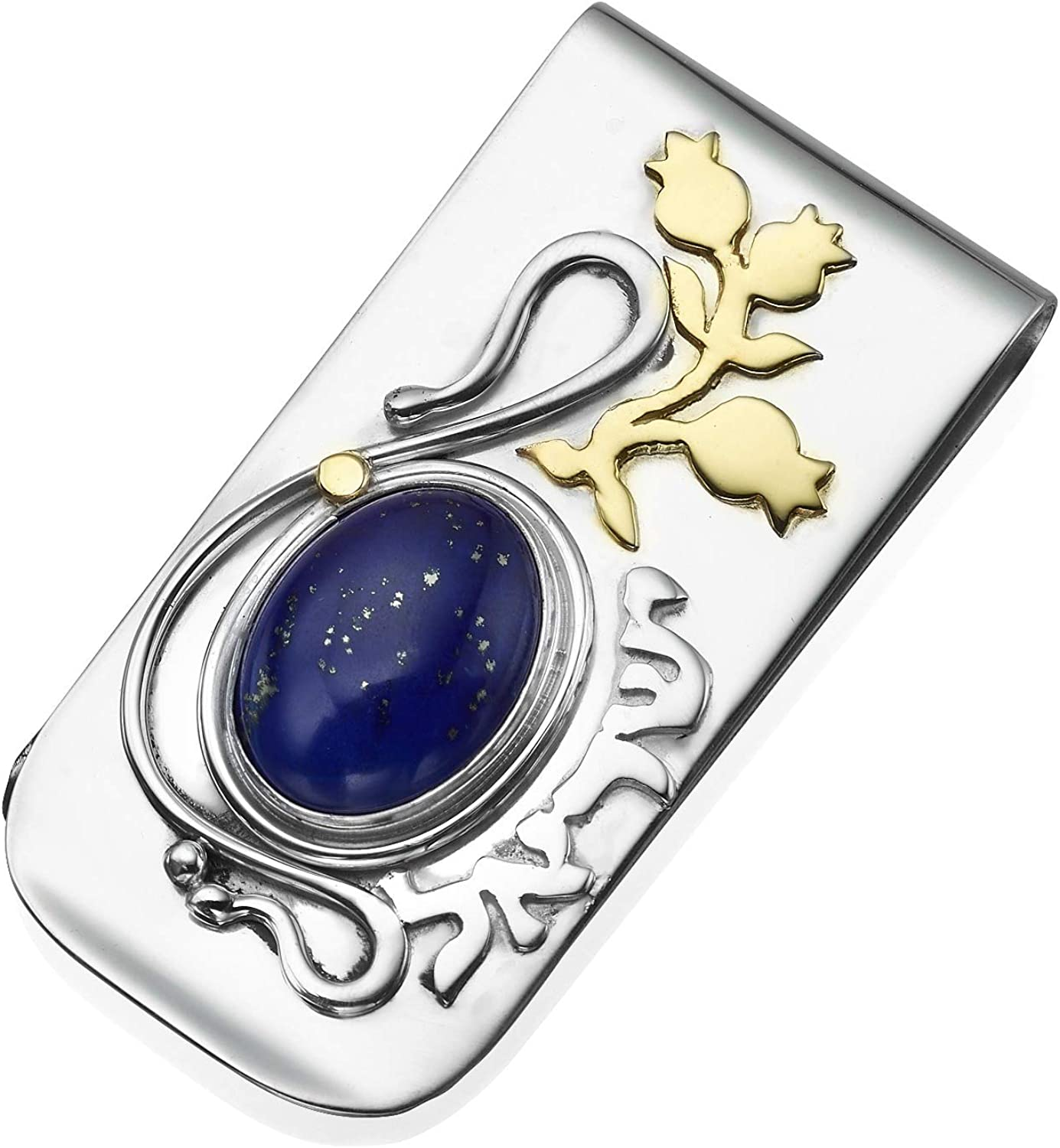 Baltinester Sterling Silver and 14k Gold Blue Lapis Lazuli Money Clip Israeli Gift for Men 583921012