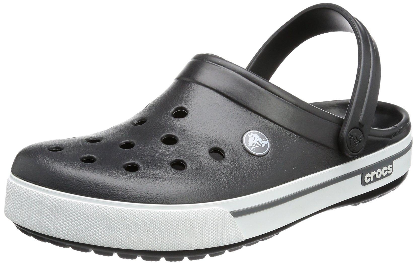 crocs Unisex Crocband II.5 Clog ,Black/Charcoal,12 US Women / 10 US Men
