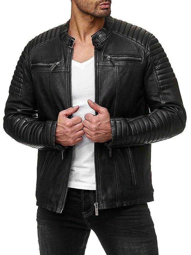 ad0ff491a COOFANDY Men's Classic Pu Leather Motorcycle Jacket Biker Jacket Zipper Coat