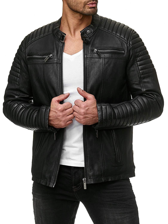 Coofandy Men's Classic Leather Motorcycle Jacket Winter Biker Jacket Black,Medium