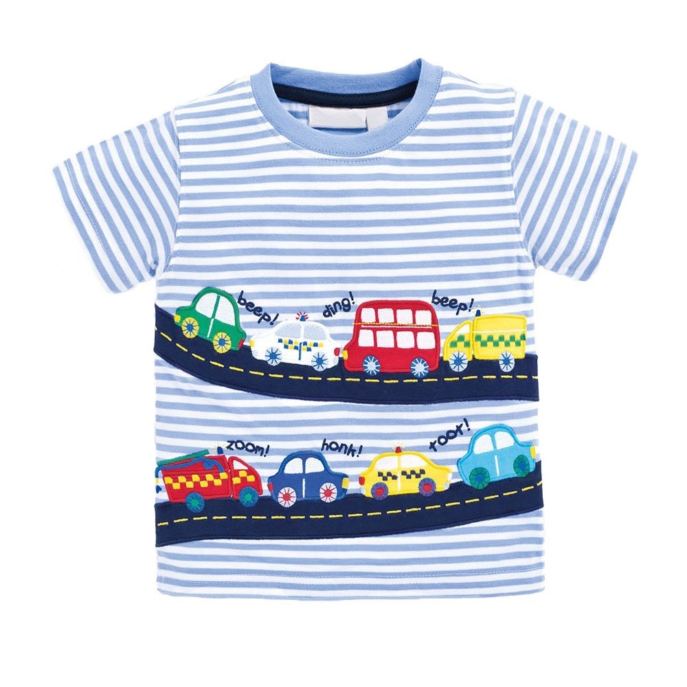 Little Boys Summer Cotton Strip T Shirt,Summer Short Sleeve T-shirt Clothes (3T, Car)