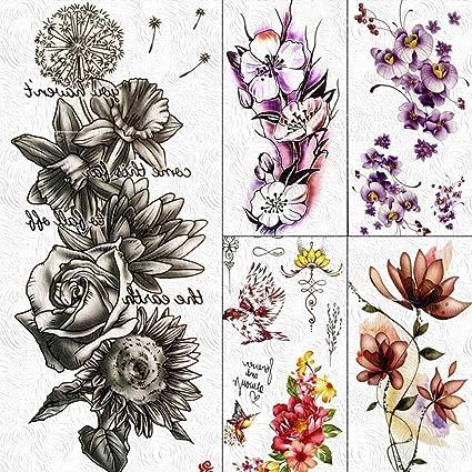 Tatuajes Temporales Niños Flor Rosa Falso Impermeable Diente De ...