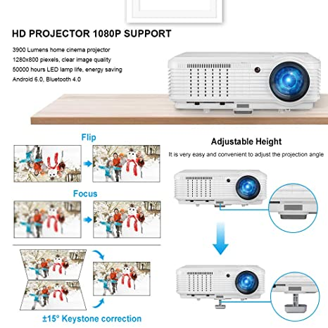 Proyector, CAIWEI Video Proyector 4500 Lúmenes Soporta Full HD ...