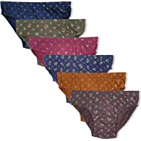 Elk Womens 100% Cotton Printed Panty Ladies Hipster Brief Inner wear Combo Pack of 6