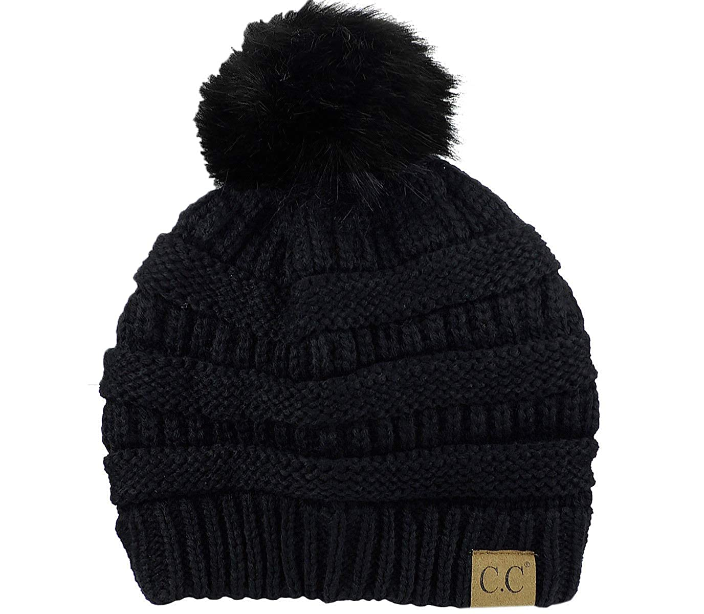 36ff0371e Women's Slouchy Beanie Cable Knit Faux Rabbit Fur Pom Pom Beanie ...