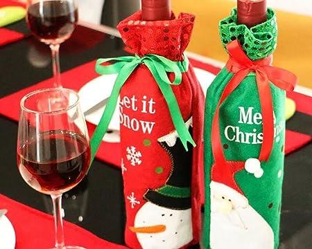 Botella con, Regalo de Navidad, cinturón y # xFF0 C; Navidad decoración para mesa de Navidad Cena decorado con fiesta familiar (4 piezas): Amazon.es: Hogar