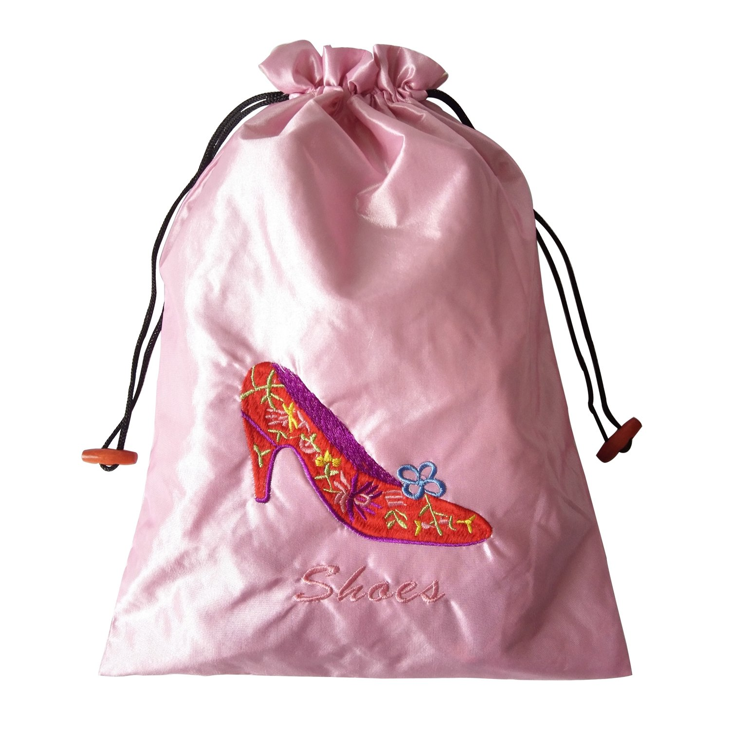 Gold Fortune 3 Packs 10.5'' x 14'' (L x W) Embroidered Silk Jacquard Travel Lingerie and Shoes Bags with Drawstring Closure (Pink) by Gold Fortune (Image #4)
