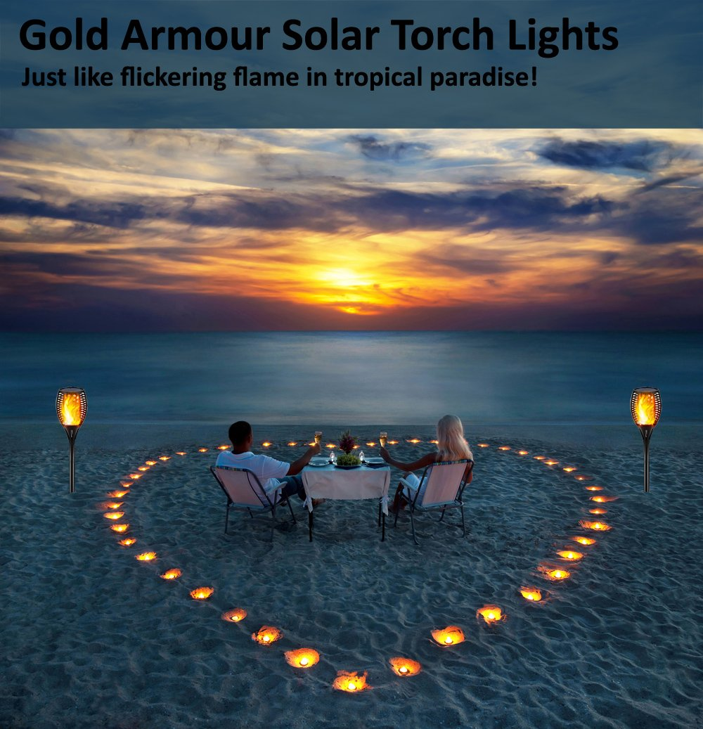 Gold Armour Solar Lights Outdoor - Flickering Flames Torch Lights Solar Light - Dancing Flame Lighting 96 LED Dusk to Dawn Flickering Tiki Torches Outdoor Waterproof Garden (4Pack) by Gold Armour (Image #6)