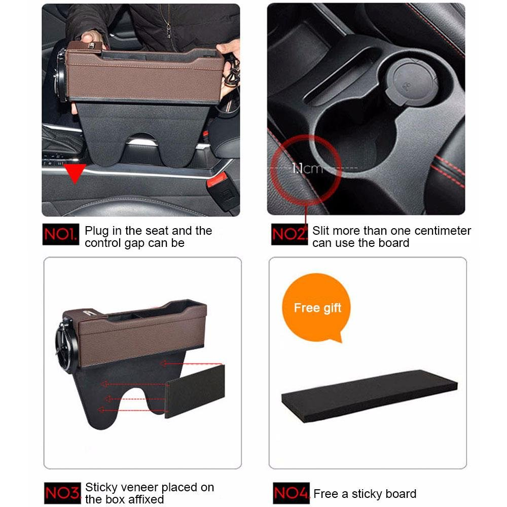 Driver Side Stop Before It Drops Car Seat Organizer Caddy Slit Gap Filler PU Leather KOBWA Console Side Pocket with Coin Organizer /& Cup Holder /& 2 USB Charging Ports