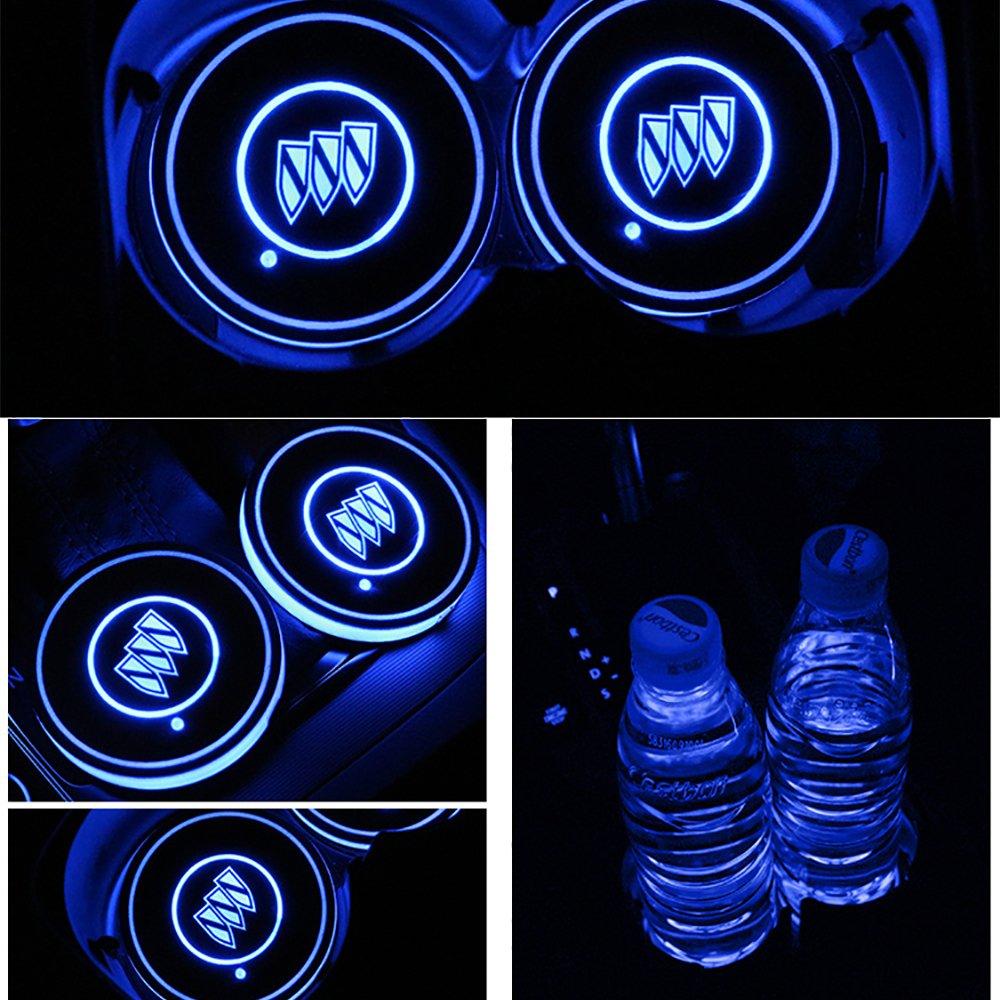 車用 LED ドリンクホルダー レインボーコースター 車載 ロゴ ディスプレイライト LEDカーカップホルダー マットパッド (Buick) B079CBTJTC Buick Buick