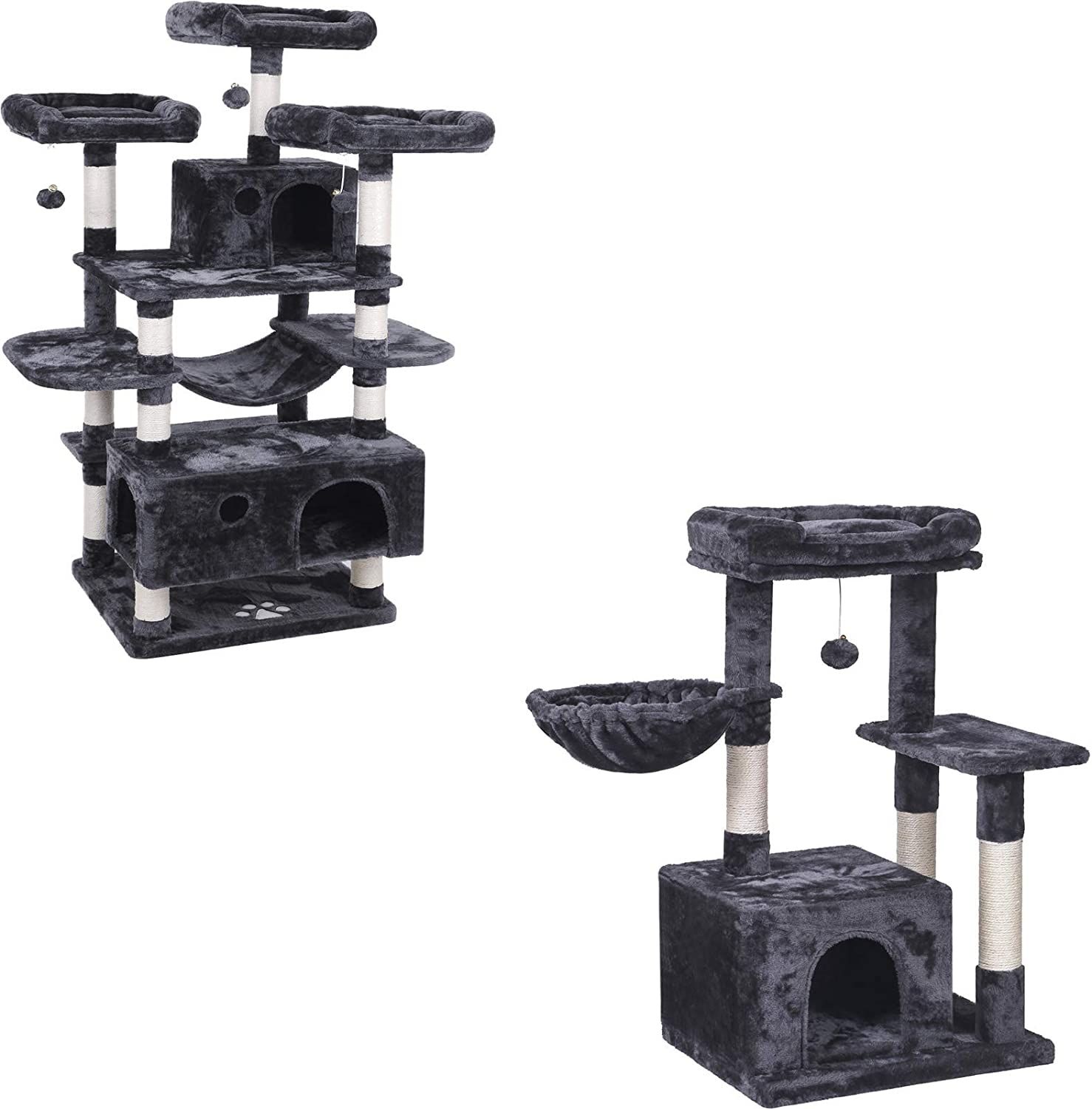 BEWISHOME Large Cat Tree Condo Bundle with Small Cat Tower with Sisal Scratching Posts Perches Houses Cat Furniture Kitty Activity Center Kitten Play House MMJ0311