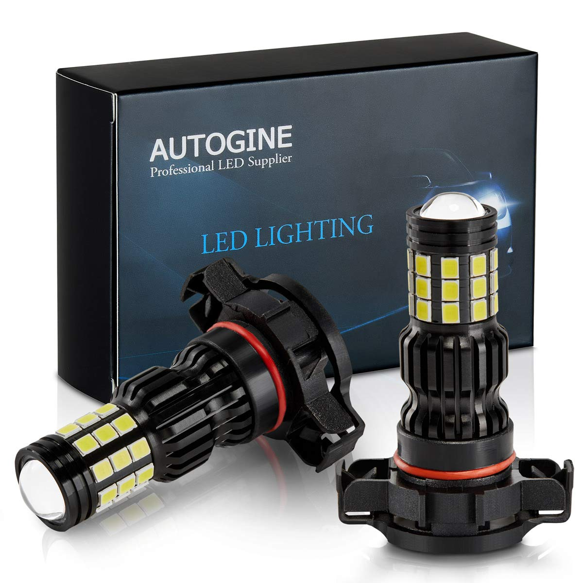 6000K Xenon White DOT Approved Pack of 2 AUTOGINE 2800 Lumens Extremely Bright 9006 HB4 9006XS 9006LL LED Fog Light Bulbs for DRL or Fog Lights