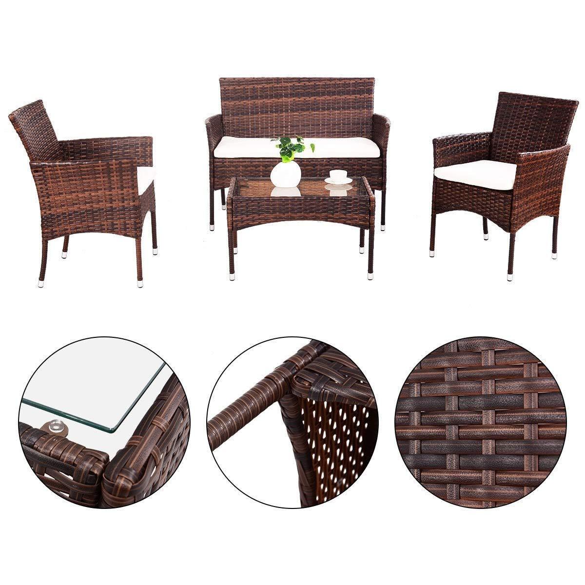 EnjoyShop 4 Pcs PE Rattan Wicker Table Shelf Sofa Furniture Set with Cushion Dining Garden Picnic Outdoor by EnjoyShop (Image #5)