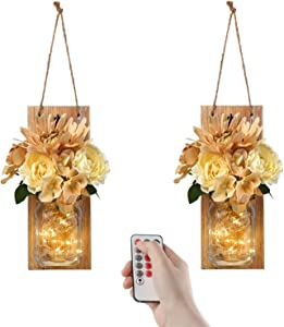 GBtroo Remote Mason Jar Sconces Wall Decor -  Farmhouse Decor with Wireless Remote for Living Room,Dining Room,Battery Operated LED Fairy Lights,Set of 2(Medium, Brown)