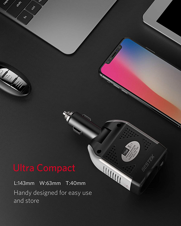 BESTEK 75W Inverter da Auto 12V a 220V Spina Accendisigari Regolabile Convertitore di Potenza con 2 Porte USB e 1 Presa AC per iPhone iPad Tablet