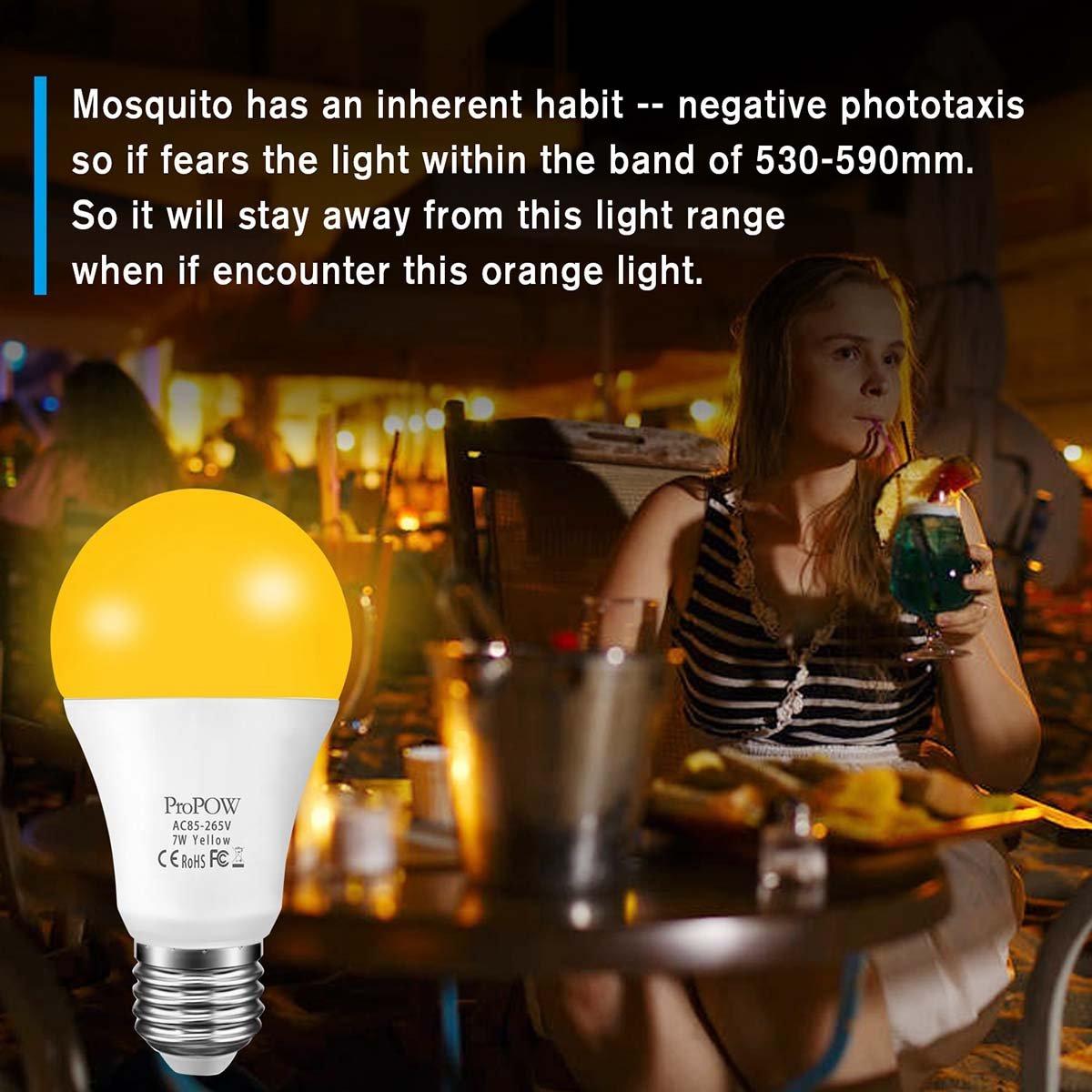 Amber Yellow Led Bug Light Bulb Propow 7w Dusk To Dawn Bug