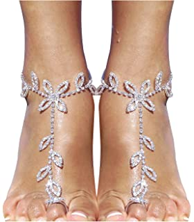 2 Pieces Womens Foot Chain Barefoot Sandals Beach Wedding Jewelry Anklet With Rhinestone Toe Ring