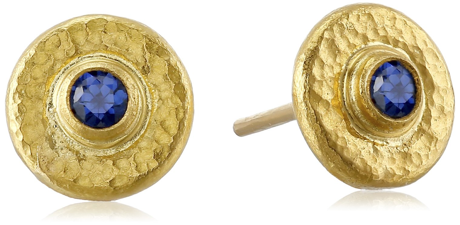 GURHAN ''Dew'' Gold Faceted Blue Sapphire Round Stud Earrings by Gurhan (Image #1)