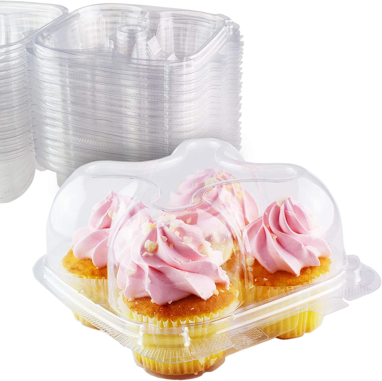 """60 Cupcake Containers Plastic Disposable High Dome Boxes 4 Compartment Holders /"""""""