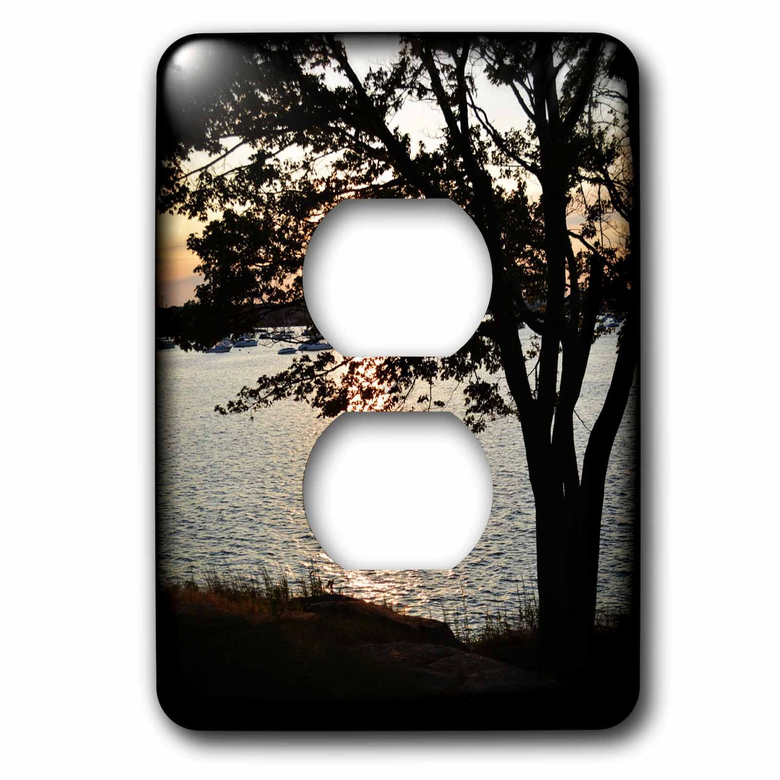 3dRose WhiteOaks Photography and Artwork - Waterscape - Twilight Has Fallen is a photo right after twilight before sunset - Light Switch Covers - 2 plug outlet cover (lsp_265371_6)