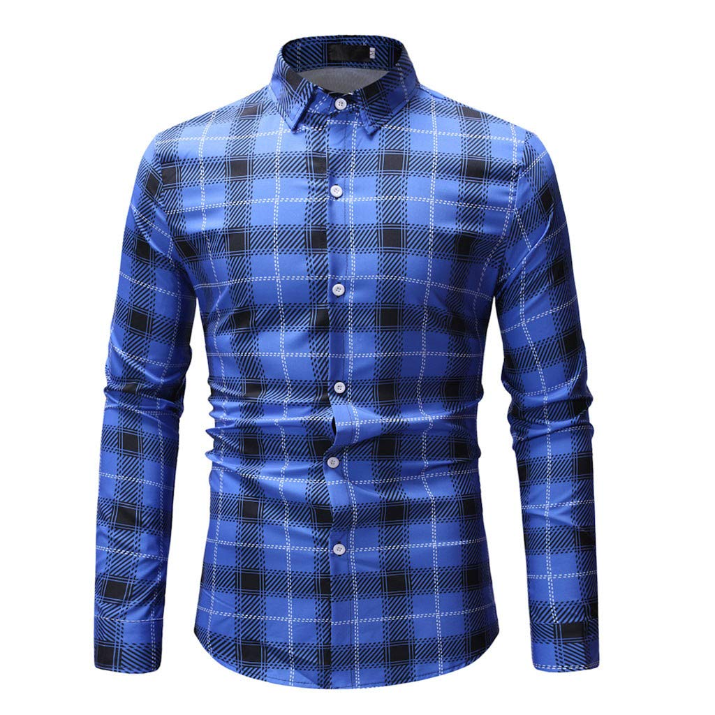 GREFER Fashion Plad T Shirt Men Spring Casual Long Sleeve Tops Blouse Blue by GREFER