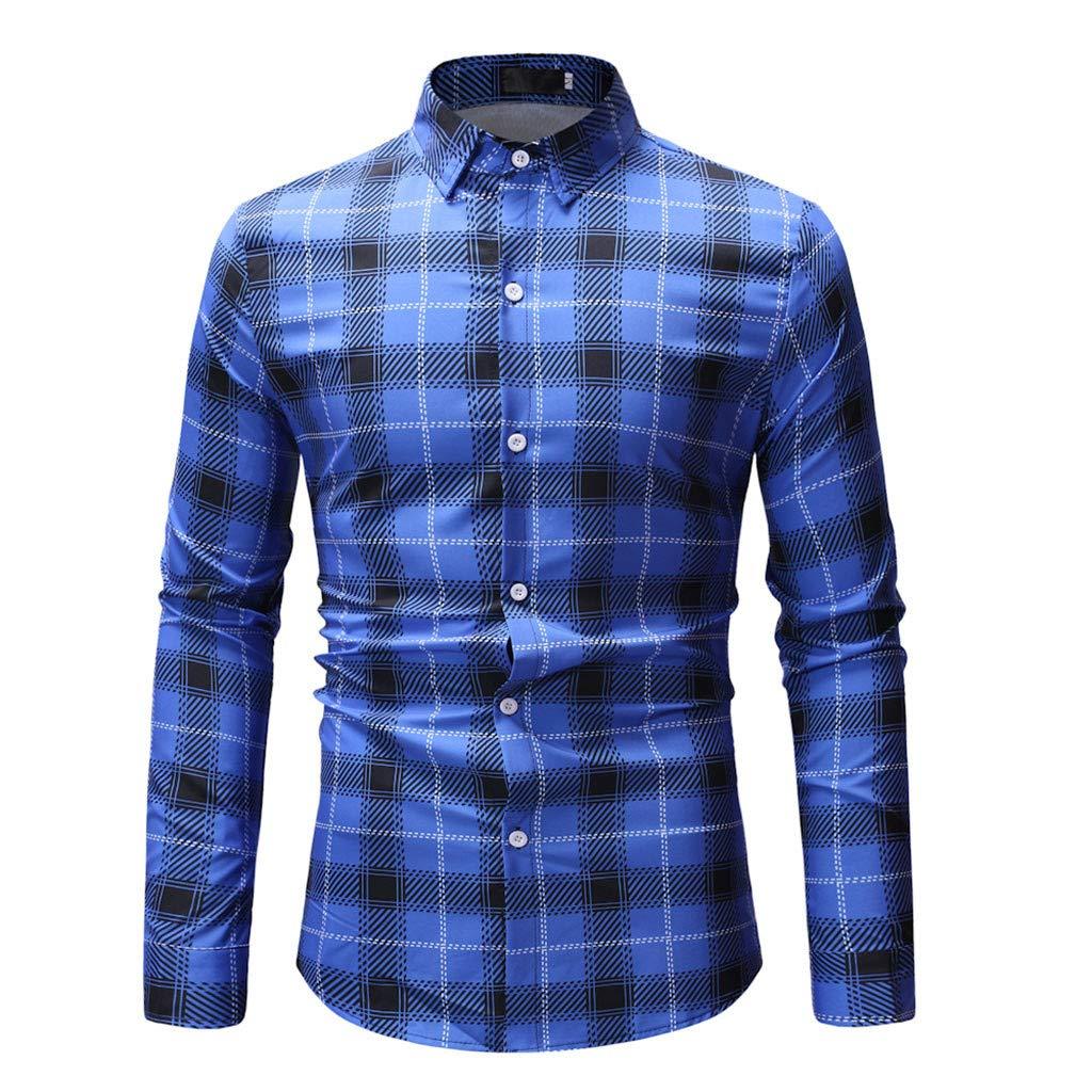 Kirbyates Mens Spring Fashion Printed Casual Plaid Turn-Down Collar Long Sleeve Slim Shirts Tops Blouse