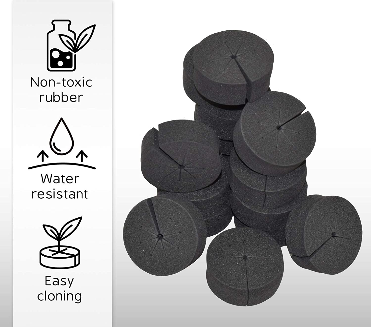 Weather and Water Resistant fits 2 inch net pots 50 Made in USA XCEL 50 Pack Cloning Collar Inserts Premium Rubber