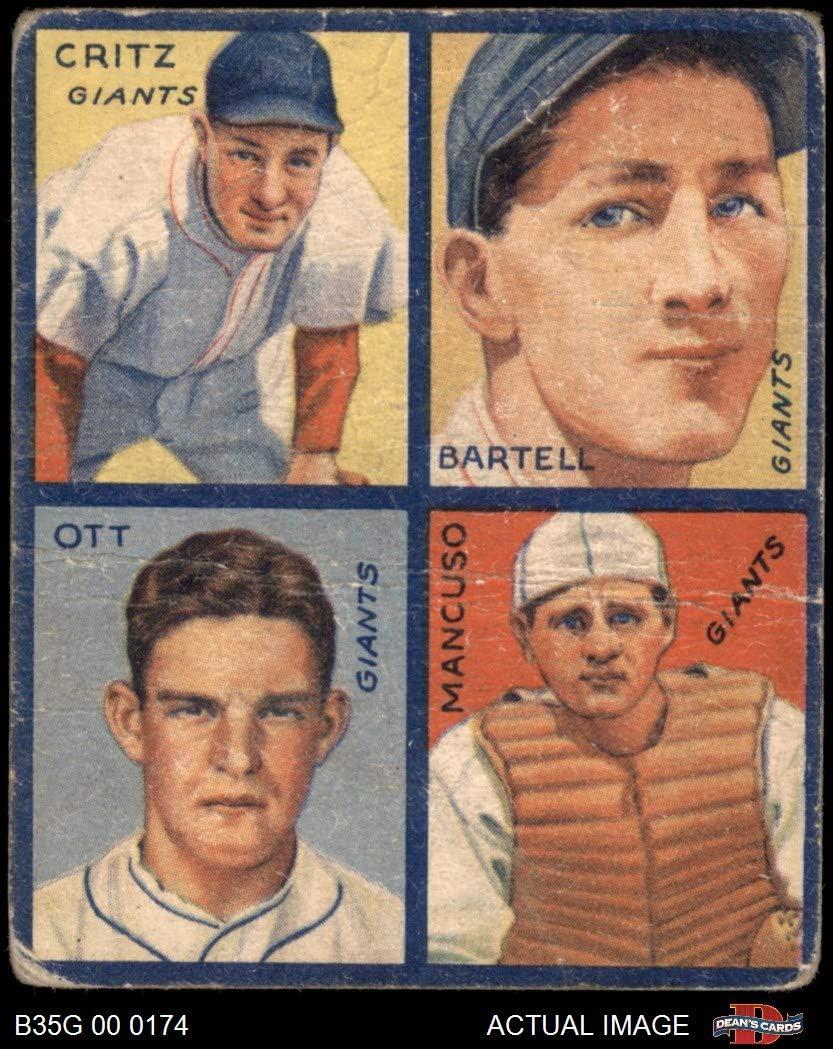 1935 Goudey Dick Bartell/Hughey Hughie Hugh Critz/Gus Mancusco/Mel Ott New York Giants (Baseball Card) Dean's Cards 1.5 - FAIR Giants 71UpyDcN2B5LSL1049_