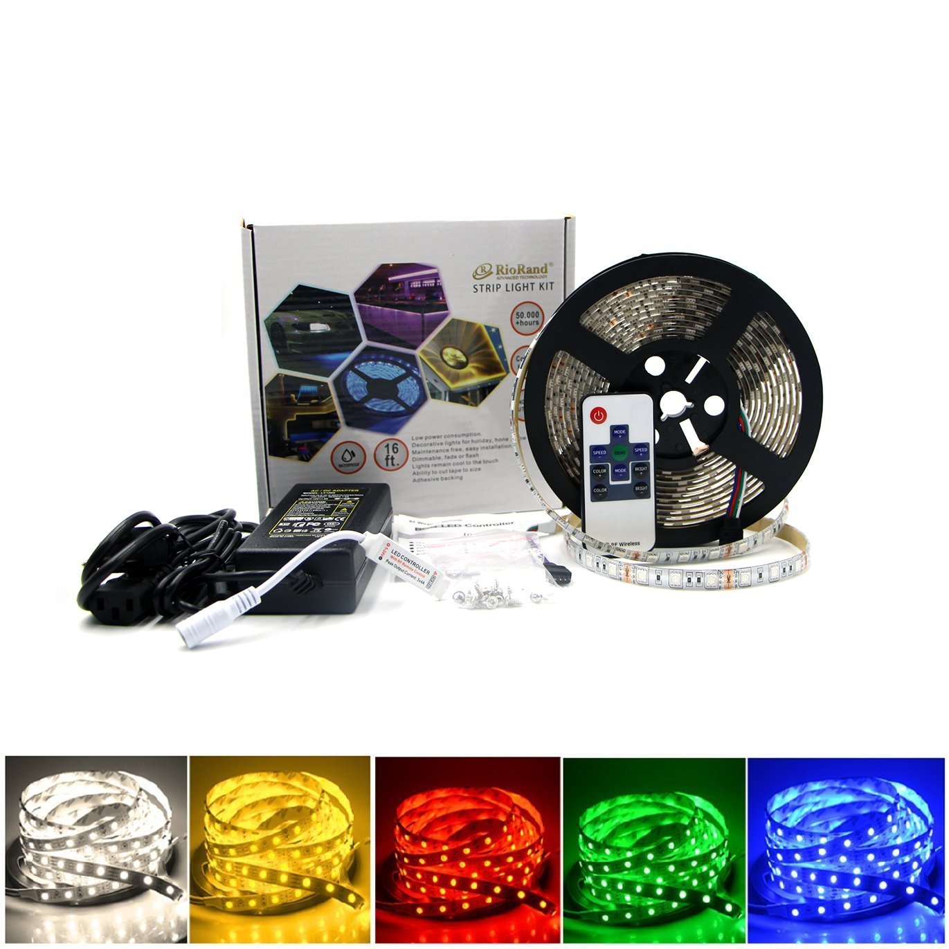 RioRand LED Strip Light waterproof Outdoor WRGB Kit RF Remote Controller 300LEDs 16.4 Feet SMD 5050 Flexible lighting RR-LS-FR-CC